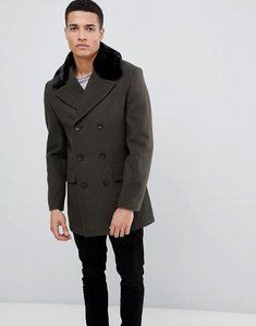 Read more about French connection double breasted wool rich pea coat with faux fur collar - khaki