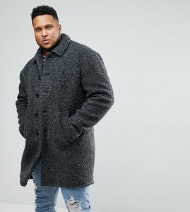 Read more about Asos plus borg overcoat in charcoal - charcoal