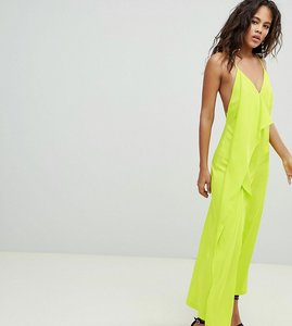 Read more about Asos design tall minimal jumpsuit with drape front - lime