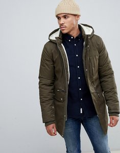Read more about Bellfield borg lined parka with hood in khaki - khaki