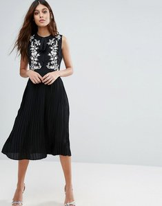 Read more about Little white lies anouk embroidered skater dress - black