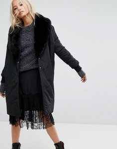 Read more about Religion oversized padded coat with faux fur shawl collar - jet black