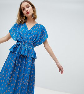Read more about Lost ink wrap front midi dress with button detail in ditsy floral - blue floral
