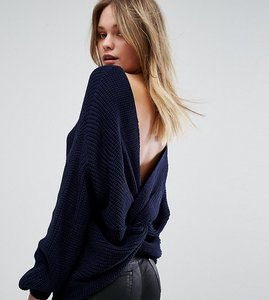 Read more about Missguided twist back oversized jumper - navy