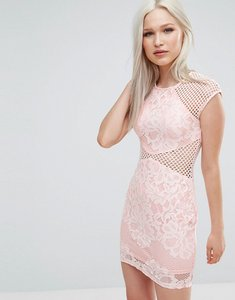 Read more about Ax paris fishnet insert bodycon dress - pink
