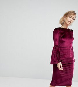 Read more about True violet velvet fluted sleeve midi dress with open back - burgundy