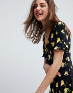 Read more about Asos design button through tea dress with frill sleeve in marigold print - floral print