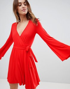 Read more about Ivyrevel wrap front mini skater dress with flueted sleeve - cherry