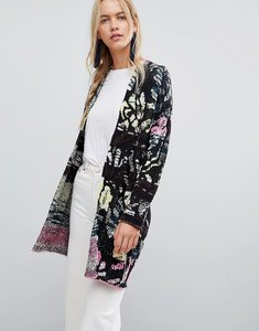 Read more about Free people think twice multi stripe cardigan - black combo