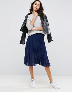 Read more about Asos pleated midi skirt with wrap front detail - navy