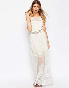 Read more about Asos premium embroidered lace cami maxi dress - cream