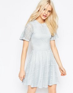 Read more about Asos skater dress with lace back and keyhole - soft grey