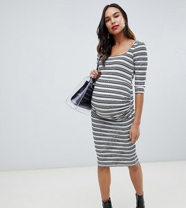 Read more about Asos design maternity stripe rib midi bodycon dress