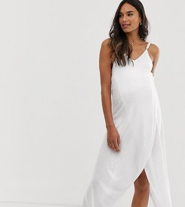 94cf851c81 Read more about Asos design maternity cross front wrap jersey beach cover up  in white
