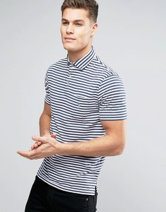 Read more about Polo ralph lauren stripe jersey polo custom regular fit pocket in navy white - fresco blue white