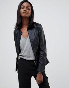 Read more about Oasis faux leather collarless jacket - black