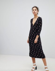 Read more about Miss selfridge wrap front ditsy floral print midi dress - multi