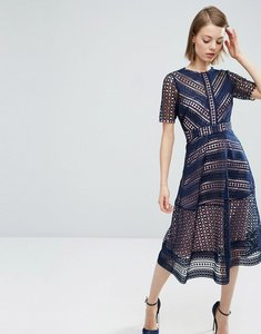 Read more about Asos premium occasion lace midi dress - navy
