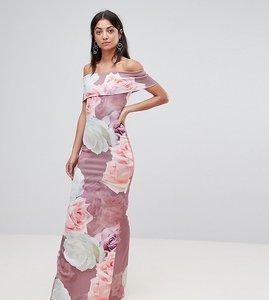 Read more about City goddess tall bardot floral bloom print maxi dress - multi