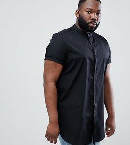 Read more about Asos design plus regular fit shirt in super longline - black