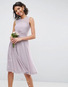 Read more about Asos wedding midi dress with ruched panel detail - lilac