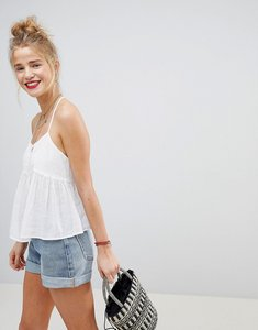 Read more about Asos design crop cami with button detail - white
