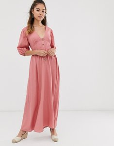 Read more about Asos design button through linen maxi dress with cross back