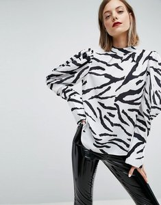 Read more about Asos top with extreme sleeve in zebra print - mono