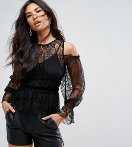 Read more about Missguided lace cold shoulder top - black