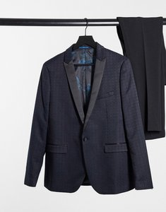 Read more about Harry brown tile jacquard skinny fit suit dinner jacket - navy