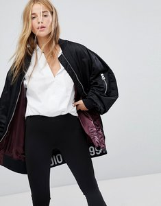 Read more about Pull bear longline bomber jacket - black