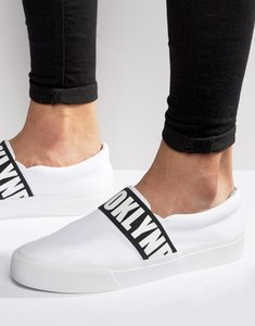 Read more about Asos slip on plimsolls with elastic brooklyn print in white - white