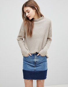 Read more about Qed london high neck jumper - beige marl