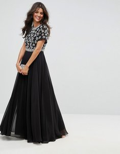 Read more about Asos floral embellished short sleeve maxi dress - black