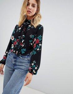 Read more about Glamorous rose print blouse - black magenta rose