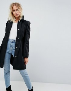 Read more about Asos skater coat with statement sleeve - black