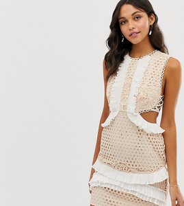 Read more about Asos design mini dress with in lace with frill trim