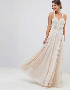 Read more about Asos design premium embellished maxi dress with pearl basque - nude