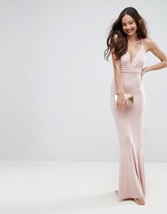 Read more about Asos slinky deep plunge fishtail plait strap maxi dress - nude