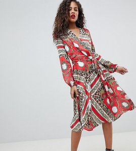 Read more about Flounce london tall wrap front midi dress - multi