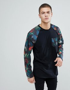 Read more about Yourturn raglan sleeve floral print shirt in black - black multi