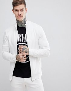 Read more about Asos design muscle jersey track jacket in white - off white