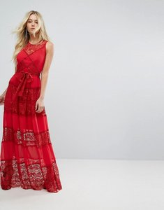 Read more about Bodyfrock tiered lace maxi dress with tie belt - red