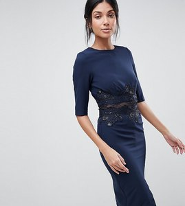 Read more about Little mistress tall pencil dress with mesh insert sequin - ny1 - navy