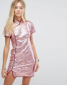 Read more about Glamorous high neck shift dress in sequin - pink sequin