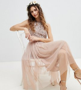 Read more about Maya sleeveless sequin bodice tulle detail midi bridesmaid dress with cutout back - taupe blush