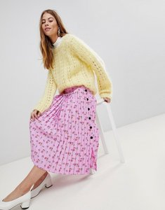 Read more about Asos pleated midaxi skirt in floral print with side buttons - multi