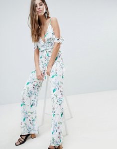 Read more about Oh my love printed cold shoulder jumpsuit with frill detail - spring floral