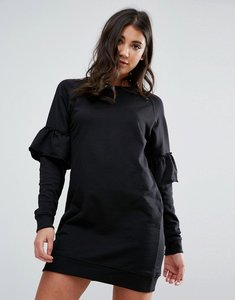 Read more about Missguided black frill sleeve sweater dress - black