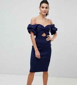 Read more about Flounce london off shoulder bodycon midi dress with cut out front - navy